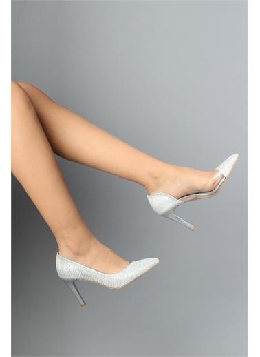 Modabuymus Modabuymus  Simli Şeffaf Stiletto Topuklu Kadın Ayakkabı - Lotus Gümüş